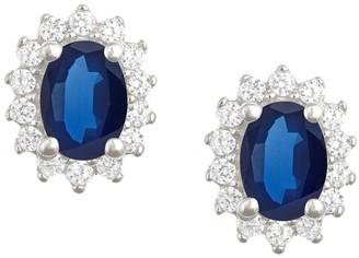 Premier 7x5mm Oval Sapphire & Diamond Earrings,14K