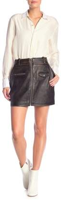 Frame Distressed Leather Skirt