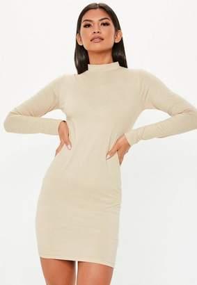 Missguided Nude Curve Hem High Neck Mini Dress