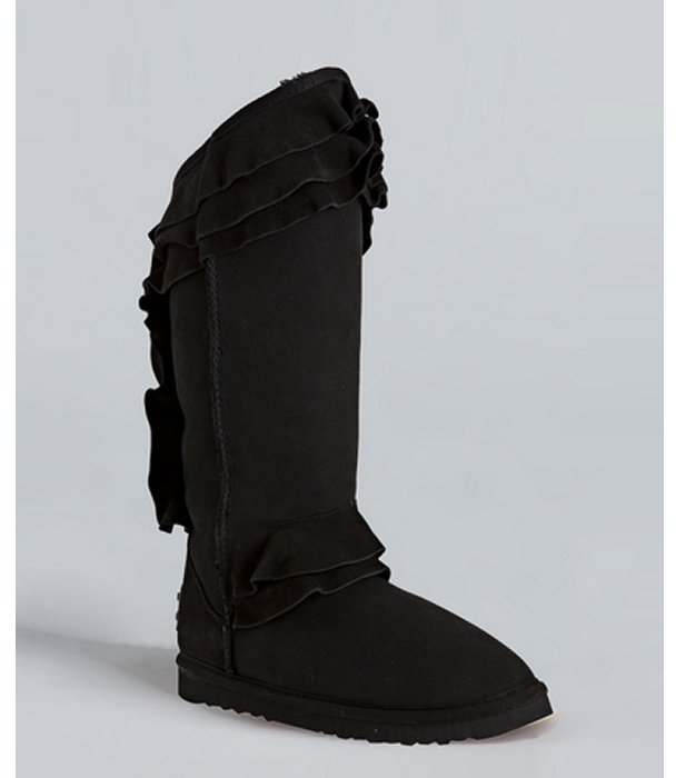 Australia Luxe Collective black suede 'White Chapel' ruffle trim shearling boots