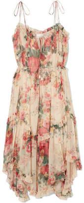 Zimmermann Laelia Floral-print Silk-crepon Midi Dress - Blush