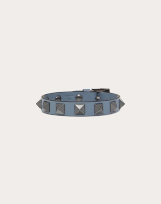 Valentino Garavani Uomo Rockstud Leather Bracelet With Ruthenium Studs Man Black Calfskin 100% OneSize