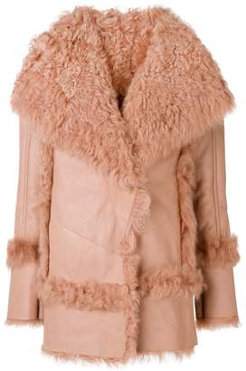 Drome wide lapeled shearling coat