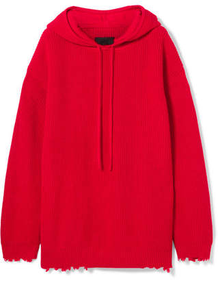 RtA Arden Hooded Distressed Cotton Mini Dress - Red