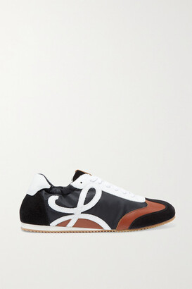 Loewe Leather, Suede And Shell Sneakers - Black