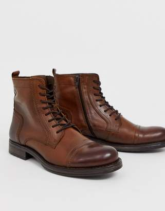 Jack and Jones lace up leather boot in brown