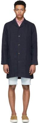 Schnaydermans Navy Linen Shirt Coat