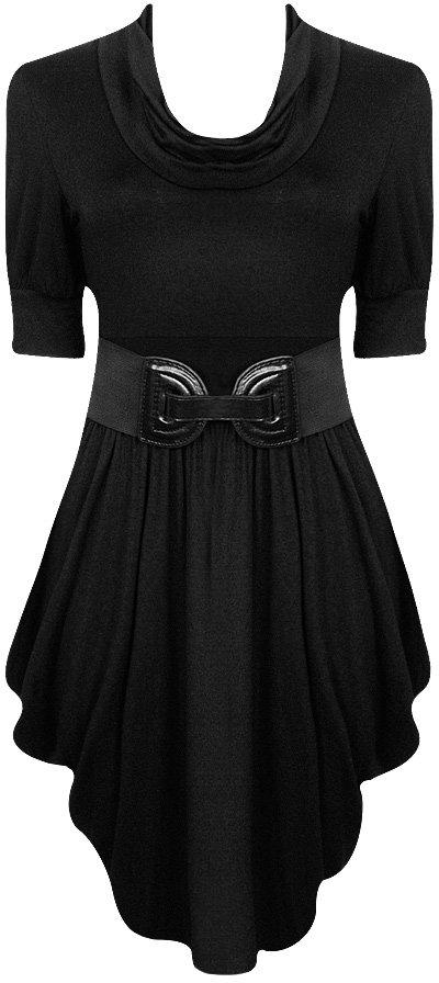 Belted Cowl Neck Dress