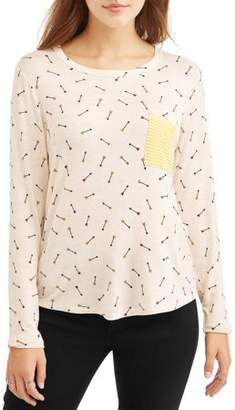 Self Esteem Juniors' All Over Printed Raglan Sleeve Contrast Pocket T-Shirt