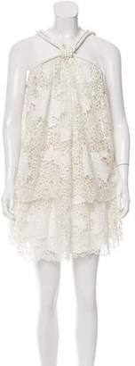 Jay Ahr Rope-Accented Lace Dress