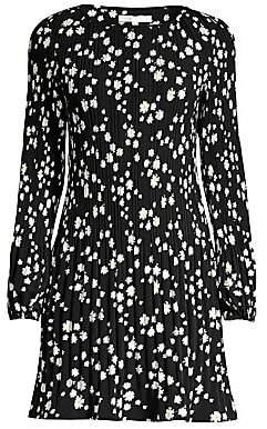 Maje Women's Rockiz Daisy Print Boatneck Pleated Dress
