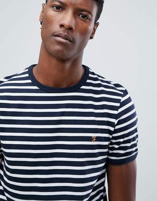 Farah Farris slim fit striped logo t-shirt in navy