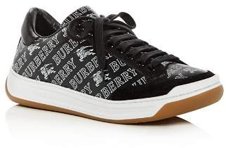 Burberry Women's Timsbury Logo Print Leather Lace-Up Sneakers