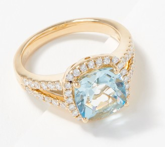 Cushion-Cut Aquamarine & Diamond Ring, 2.50 cttw, 14K Gold