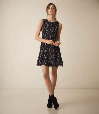 Reiss LOUISE FLORAL PRINTED FIT AND FLARE DRESS Multi