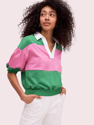 Kate Spade Stripe Polo Knit Tee, Desert Palm - Size M