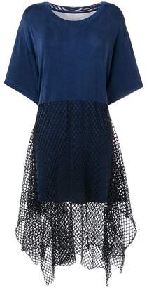 MM6 MAISON MARGIELA mesh-panel midi dress
