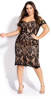 City Chic Citychic Decadent Lace Dress - black