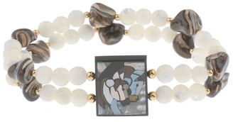 Lee Sands Double Horse Inlay Stretch Bracelet