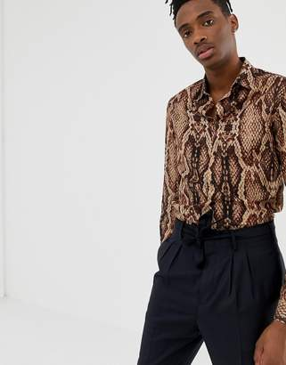 Asos DESIGN regular fit snakeskin printed shirt