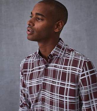 Reiss KINGS CHECK PRINTED SHIRT Bordeaux
