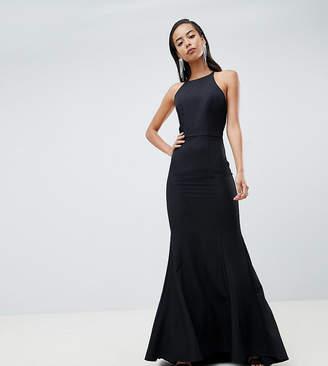 Jarlo Tall open button back fishtail maxi dress hem in black