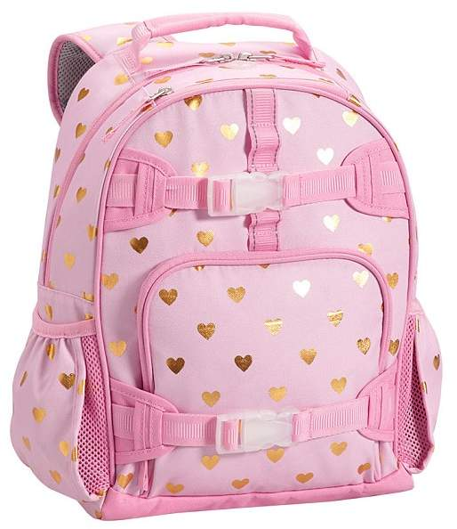 Small Backpack, Mackenzie Pink/Gold Foil Hearts