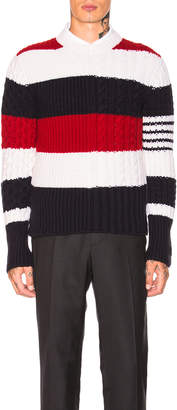 Thom Browne Chunky Cable Classic Crewneck Pullover