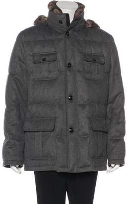 Kiton Chinchilla-Trimmed Cashmere Down Coat