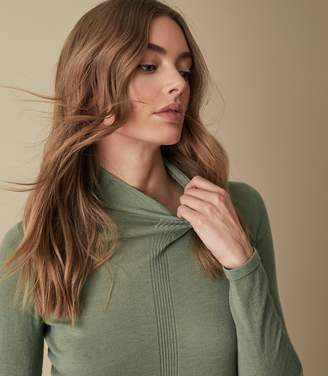 Reiss AMBERLY WOOL CASHMERE BLEND ROLLNECK TOP Sage Green