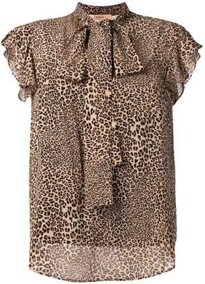 Twin-Set leopard bow tie top