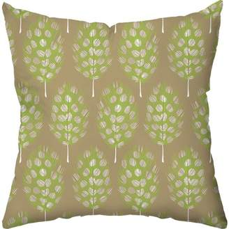 Checkerboard Lifestyle Guinea Feathers in Gold Throw Pillow, Gold