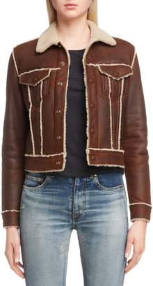 Saint Laurent Genuine Shearling Trucker Jacket