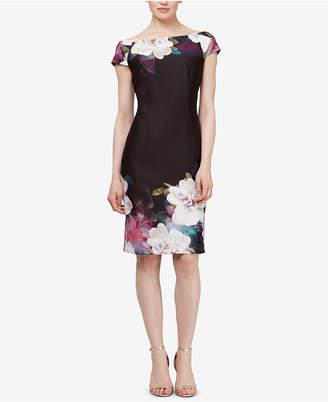 Sl Fashions Floral Off-The-Shoulder Sheath Dress