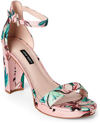 Nine West Pink Dempsey Floral Satin Block Heel Sandals