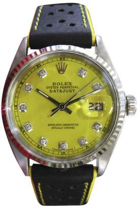 Rolex Datejust Stainless Steel & Diamond Yellow Dial Mens Vintage Watch