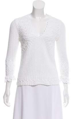 Oscar de la Renta Long Sleeve Crochet Sweater