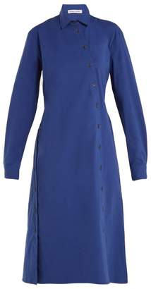 Tomas Maier Cotton Poplin Asymmetric Button Dress - Womens - Blue