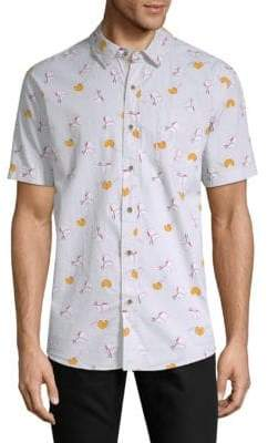 Chinese Takeout Short-Sleeve Cotton Button-Down Shirt