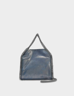 Stella McCartney Metallic Shaggy Deer Falabella Mini Tote Bag in Blue Lagoon Eco Leather