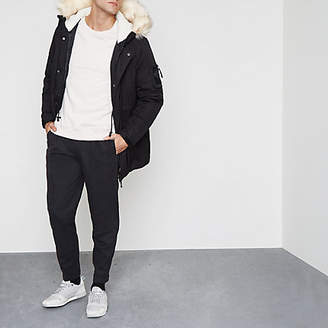 River Island Black faux fur trim hooded parka