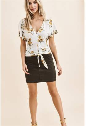 Dynamite Flutter Sleeve Top With Front Tie White W/ Yellow Floral