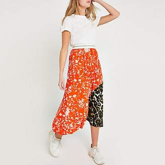 River Island Orange ditsy floral pleated midi skirt