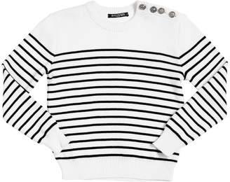 Balmain Striped Cotton Knit Sweater