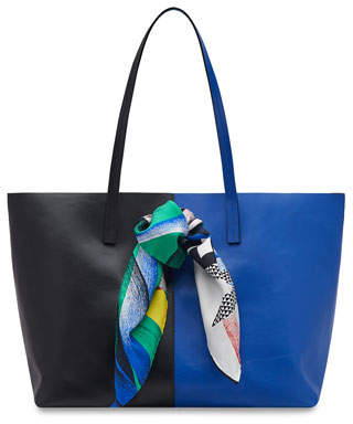 Versace Colorblock Leather Shoulder Tote Bag with Logo Scarf