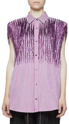 Dries Van Noten Casulo Stripe Sequin Padded-Shoulder Button-Front Shirt