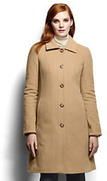 Lands' End Women's Luxe Wool Insulated Car Coat-Dark Camel Heather $219 thestylecure.com