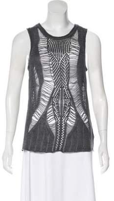 Edun Linen Knit Distressed Sleeveless Top