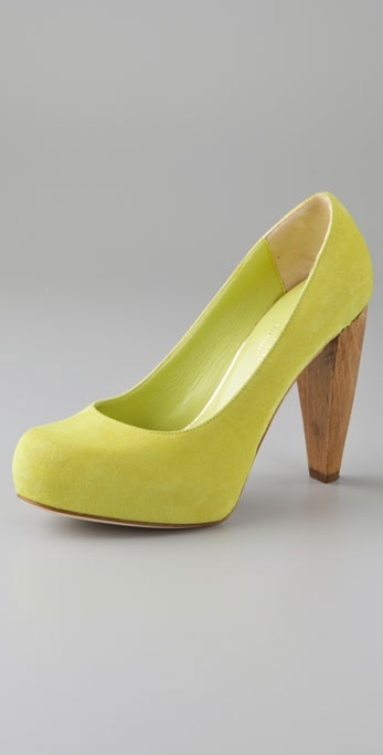 Loeffler Randall Esther Platform Pumps with Wooden Heel