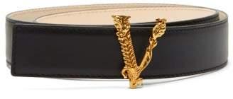 Versace Virtus Leather Belt - Womens - Black